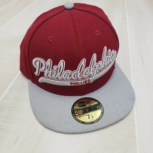 New Era Phillies Fitted Hat 7 1/8 Cooperstown